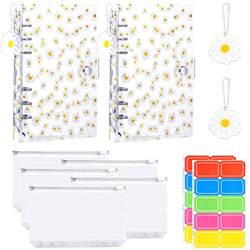 2 Pieces Daisy A6 Binder Cover Refillable 6 Ring Notebook Binder with Acrylic Daisy Pendant and 5 Pieces 6 Holes A6 Zipper Pocket 2 Sheet Self-Adhesive Writable Label for Home Office School