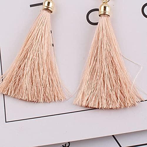 Bohemian Vintage Ethnic Long Tasse Pearl Clip on Earrings Women Brand Jewelry No Hole Fabric Earings Ethnic Jewelry
