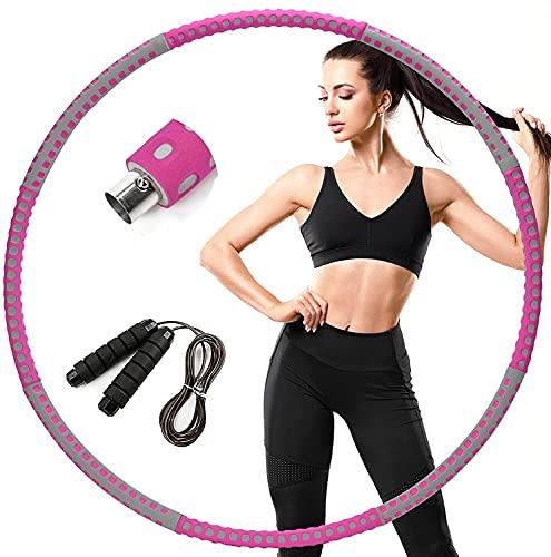 eisaro Hula Hoop Fitness, Aros de Hula con peso para adultos pérdida de peso, aros ondulados desmontables, 1,2 kg (gris rosado)