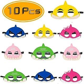 Cadeya 10 Pcs Shark Mask with Headband,Children's Shark Costume Half-Half Mask Suitable for Boys and Girls Birthday Party