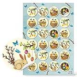 Logbuch-Verlag - 24 adesivi primaverili colorati a forma di coniglio, pulcini, uova di Pasqua per bambini
