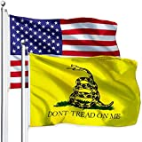 American USA Flag and Don't Tread on Me Gadsden Flag 3x5 Foot - Vivid Color and Fade Resistant US Flags Polyester with Brass Grommets (US Flag+Yellow Gadsden Flag)
