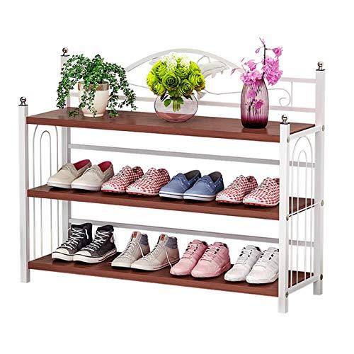 Nvshiyk Organizador de Zapatero 3 Capas de 12 Pares apilables de bastidores de Zapatos Dormitorio de Entrada de Madera de Almacenamiento de Metales de Madera. Durable y Estable