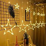 12 Sterne Lichterkette,138LED warmweiss Lichtervorhang weihnachtslichter Sternenvorhang 8 Modi mit Fernbedienung Innen Außen Sterne Vorhang Lichter Für Weihnachten,Party,Hochzeit,Garten, Balkon, Deko - 2