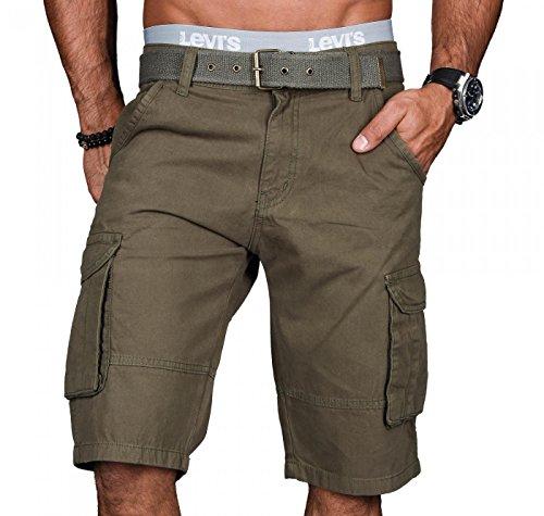 A.Salvarini Stylische Herren Cargo Short inkl. Gürtel Sommer Bermuda Kurze Hose Army Shorts AS-037 [AS037 - Grün - W31]
