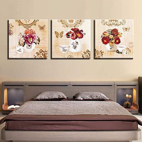 WSNDGWS Decoratie drieslaapkamer bloemendecoratie schilderij slaapkamer Hotel Inkjet schilderij Geen fotolijst 50x50cmx3 C4
