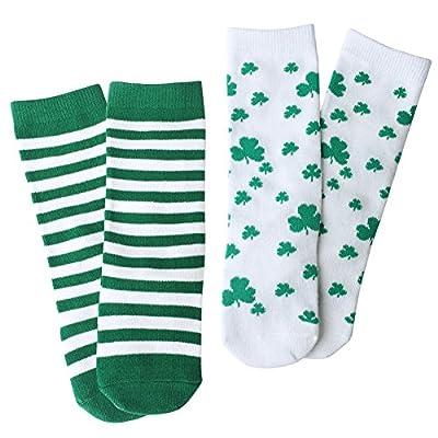 OLABB St. Patrick's Day Baby Toddler knee high socks Shamrock/Clover Green and White Striped Gift Set 2 Packs