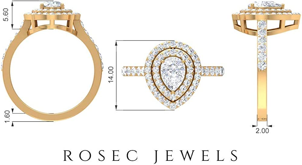 Pear Shaped Solitaire Moissanite Ring, 1.53 CT D-VSSI Moissanite Wedding Ring, Unique side Stone Ring, Classic Statement Ring, Anniversary Ring, 14K Gold