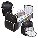 4 in 1 Diaper Bag with Bassinet Changing Station– Multi Purpose Waterproof Convertible Baby Diaper Bag with Changing Pad Mommy Backpack, Durable, Large Capacity with Toy Bar,Sunshade and USB (Black)