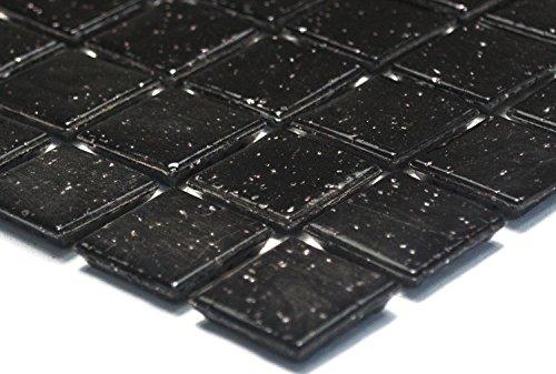 Mosaik-Netzwerk Mosaikfliese Quadrat uni schwarz Glasmosaik mit Effekt Spots Fliesenspiegel, Mosaikstein Format: 20x20x4 mm, Bogengröße: 327x305 mm, 1 Bogen/Matte