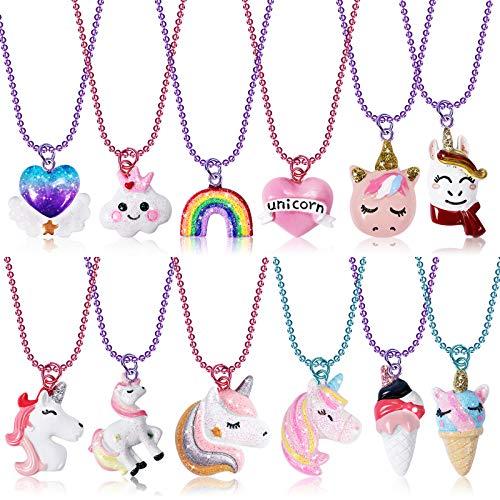Vamei 12 Collar Niñas Lindo Unicornio Nube Corazón de Arcoíris Helado Resina Collares de la Amistad Niña para Fiestas Unicornio Collares BFF Joyas para Niños Regalos Cumpleaños para Niñas