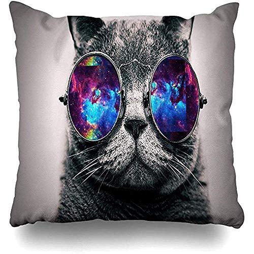 Kussenslopen 1-pack Galaxy Hipster Cat 3D Grappige kat dragen kleur zonnebril Pillowslip Sofa Cute