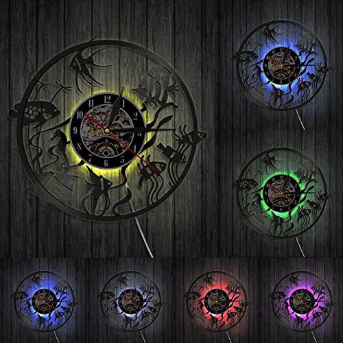 Wwbqcl Reloj de Pared silencioso Abstracto pecera led lámpara Colgante de Pared Reloj Goldfish Bowl Reloj de Disco de Vinilo para Goldfish Lover