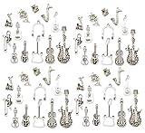 52 colgantes de aleación de instrumentos musicales surtidos, para lubina, guitarra, cloro, viola, saxofón, pulsera, collar de cuentas, joyería para cumpleaños, Navidad, regalo de San Valentín