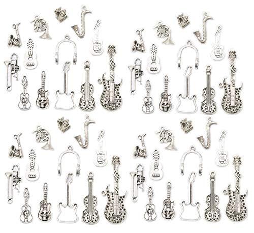 52 Stück Musikinstrument Legierung Anhänger Bassgitarre Horn Cellos Viola Trompete Saxophon Charms Armband Halskette Perlen Schmuckherstellung Perlen für Geburtstag Weihnachten Valentinstag Geschenk