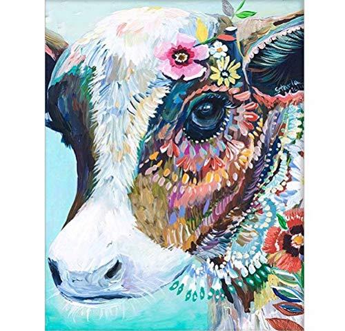 Toudorp Paint by Numbers Kits 16x20 inches Canvas Schilderij voor Volwassenen Beginner en Kinderen met Acryl Verven en Borstels - Dieren Without Frame Colorful Cattle