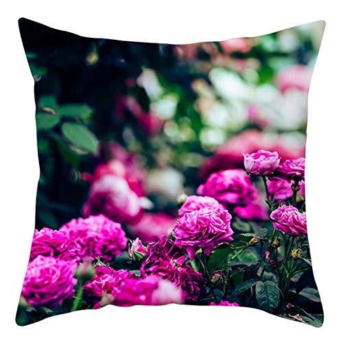 AtHomeShop Fundas de cojín de 50 x 50 cm, de poliéster con rosa turco, suave, cuadradas, para salón, dormitorio, oficina, sofá, decoración, color fucsia, estilo 35