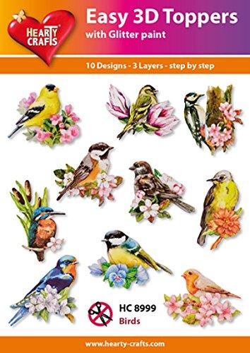 Easy 3D Toppers Vogels, Papier, Multi kleuren, 17 x 10 x 1 cm