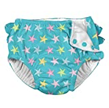 i play. by green sprouts baby girls Ruffle Snap Reusable Absorbent Swimsuit Swim Diaper, Aqua Starfish, 12 Months US