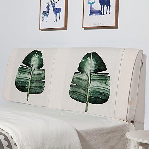 ZEMIN Nachttisch Kissen Kopfbrettkissen Mit Ohne Kopfteil Unterstützung Waschbar Leinen Kleidung, 5 Farben, 4 Grün (Farbe   C-with, Größe   180X10X60CM)