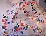 Ribbon Art Craft Decoration 10 Yds Flawed Happy Birthday Primary Puff Paint Sheer Ribbon 7/8'W