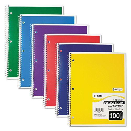 Mead Spiral Notebook, College Ruled, 1 Subject, 100 Sheets, Assorted Colors (06622)