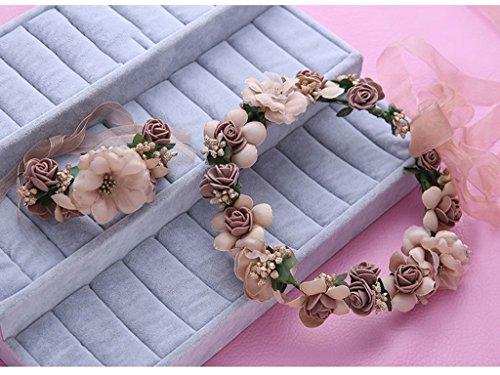 & Coiffe des fleurs de la Couronne Fleur de fleur d'enfant, Bandeau Fleur Guirlandes Fête de mariée à la main à la main Fait bande Bandeau Bracelet Bande de cheveux couronne de couronnes de fleurs ( Couleur : # 6 )