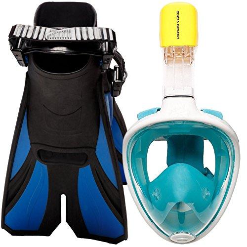 COZIA Design Ocean View Snorkel Set–Full Face Snorkeling Máscara con Ajustable Aletas de Buceo