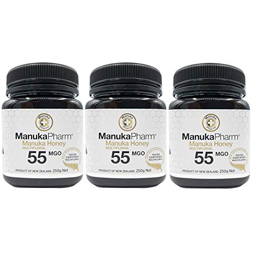 マヌカハニー 250gx3個 ニュージーランド直輸入 無添加 非加熱 100%純粋 生はちみつ マルチフローラル ( MGO 55+ )