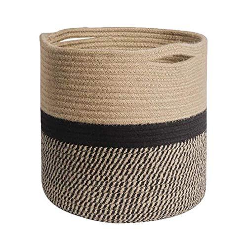 POHOVE Cesta de cuerda de algodón tejida para plantas, maceta interior con asas, lavable, moderna decoración para interiores, cesta organizadora rústica para decoración del hogar, 30 x 30 cm