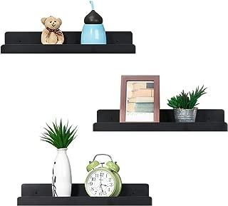 NEX Metal U Shape Floating Shelves Wall Mounted Set of 3, Photo Ledge Picture Display Storage Shelf, Black