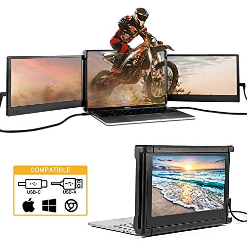 Dual Portable Monitor for Laptop, Triple Screen Extender for PC, 11.6' 1080P Extra Laptop Screens...