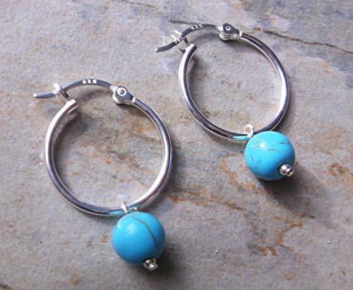 Sterling Silver 20mm Hinged Hoop Earrings with Grade A Turquoise Gemstone Drops, Gifts for Her
