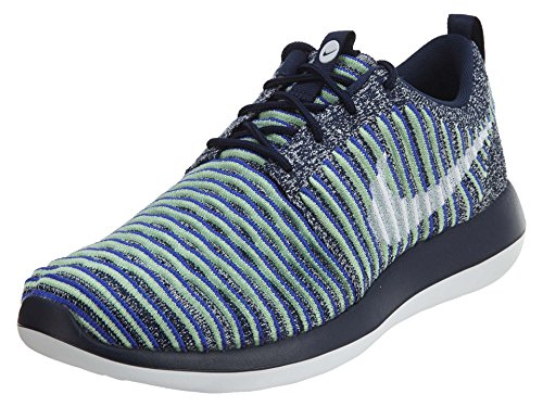 NIKE Womens Roshe Two Flyknit Running Trainers 844929 Sneakers Shoes (UK 3 US 5.5 EU 36, College Navy White Blue 401)