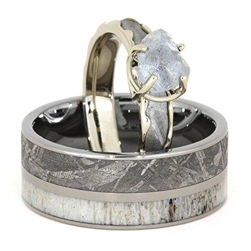 Rough Diamond, Gibeon Meteorite 10k White Gold Ring and Deer Antler, Gibeon Meteorite Titanium Band, Couples Rings, M 10.5-F6