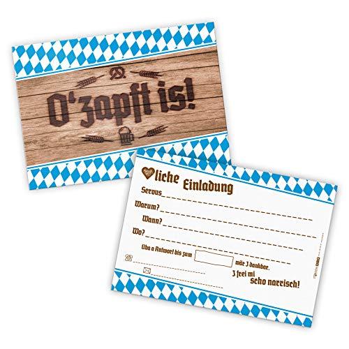 itenga 12x Einladungen O'zapft is I ideal als Karten für bayrische Anlässe, Geburtstage oder Mottopartys I DIN A6, quer I rustikale Holzoptik DEKO Oktoberfest