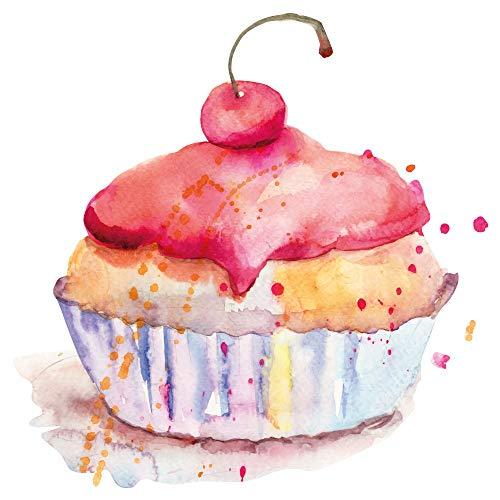 dekodino® Wandtattoo Aquarell Cupcake mit Kirsche Küchen Wanddeko