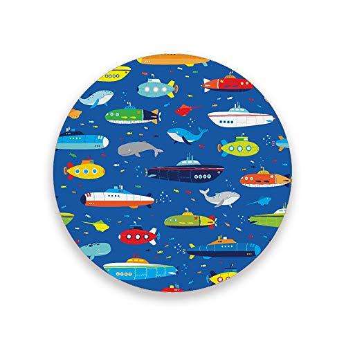 PICKIDS Untersetzer für Getränke, saugfähige U-Boote und Wale, runde Keramik-Untersetzer für kalte Getränke, Kaffeetasse, Glasbecher, Keramik- und Holzpads, mehrfarbig, 0.20x3.9inx4