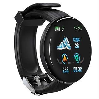 Davide Alisa Bluetooth Reloj Inteligente Hombres Presión Arterial Ronda Reloj Inteligente Mujeres Reloj Impermeable Fitness Tracker para Android iOS como Se Muestra D18 Negro