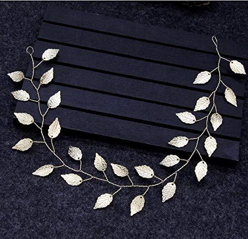 PPuujia - Fascia per capelli da sposa, con foglie, per donne