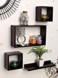 HUNK SHOPEE Set of 4 Wooden Wall Mounted Wall Decor Floating Cube Shelving Storage Display Wall Shelves (Brown)