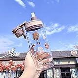 YYSD Botella de Agua Patrón de Oso Lindo con Escala Estudiante Deportes al Aire Libre Diversión Creativa Paja a Prueba de...