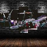 QWRTU 5 Piezas De Arte De Pared Impresiones En Lienzo Batería Set Kit Instrumento Musical 5 Piezas Cuadro Moderno En Lienzo Decoración para El Arte De La Pared del Hogar 150×80 Cm HD Impreso Mural