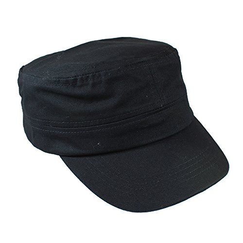 Gelante Cadet Caps 100% Breathable Cotton Plain Flat Top Twill Militray Style with Adjustable Strap. G005-BLK Black