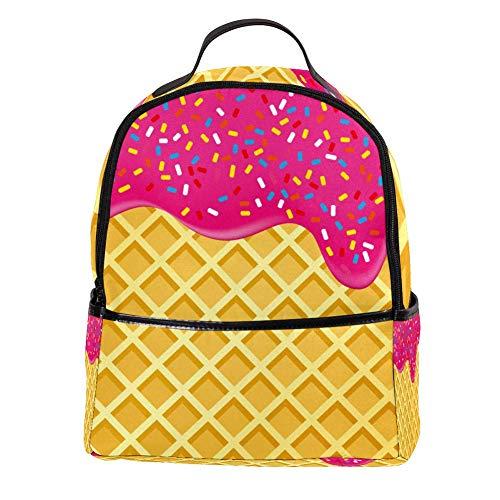 TIZORAX aardbei ijs gesmolten op wafel laptop rugzak casual schouder Daypack voor student school tas handtas - lichtgewicht