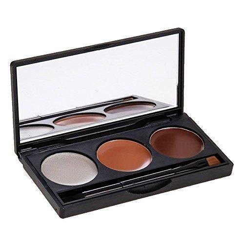 HuntGold 3 couleurs correcteur fard à paupières palette crème maquillage kit poudre broche miroir 1#