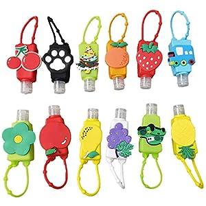 12 bottiglie e contenitori da viaggio in plastica portachiavi per bambini a scuola mantengono le mani pulite