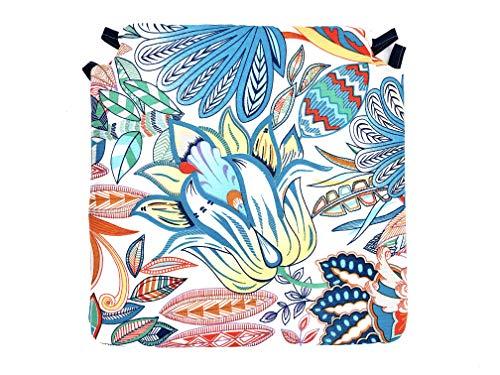 Tienda Eurasia - Pack de 4 Cojines para Sillas, Estampado Floral, con 2 Cintas de Sujeción. Apto para Interior - Exterior. Medidas 40x40cm