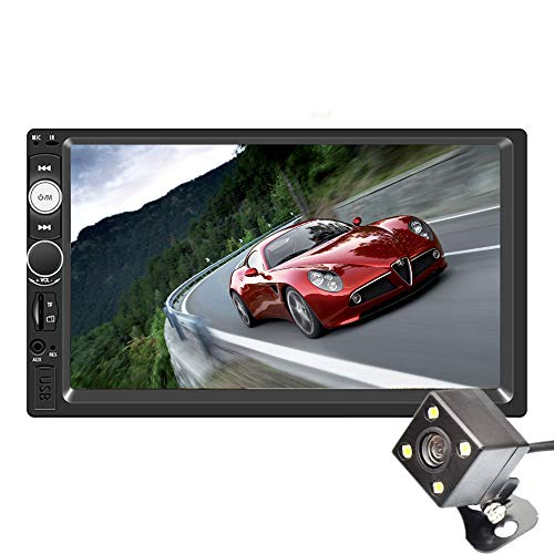 PolarLander Voiture Stéréo 12v Autoradio 2 Din 7 Pouces Écran Tactile Bluetooth Multimédia Auto Audio Autoradio Support Vue Arrière Caméra