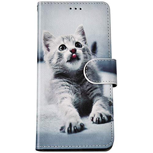 Felfy Kompatibel mit LG K40 Hülle Bunte Painted Muster Schutzhülle,Handyhülle für LG K40 Magnet Flip Hülle PU Lederhülle Tasche mit Kartenfach/Standfunktion - Graue Katze